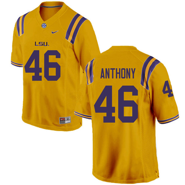 Men #46 Andre Anthony LSU Tigers College Football Jerseys Sale-Gold