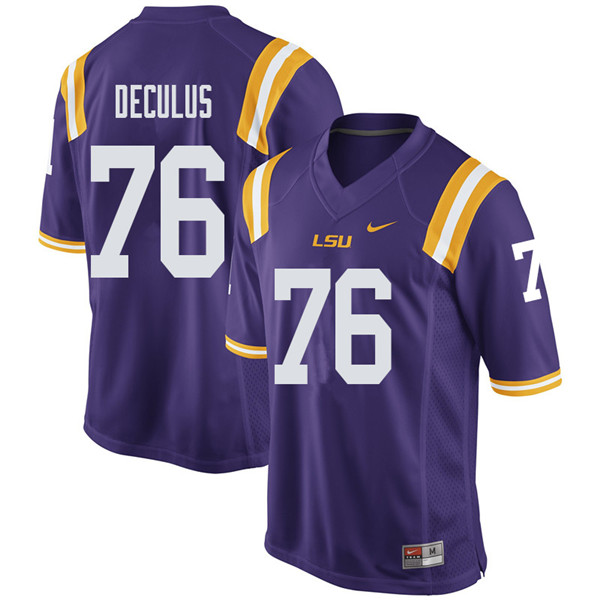 Men #76 Austin Deculus LSU Tigers College Football Jerseys Sale-Purple