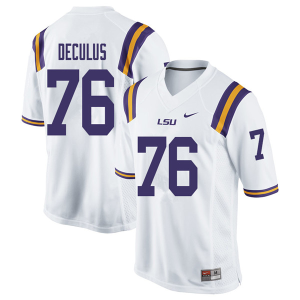 Men #76 Austin Deculus LSU Tigers College Football Jerseys Sale-White
