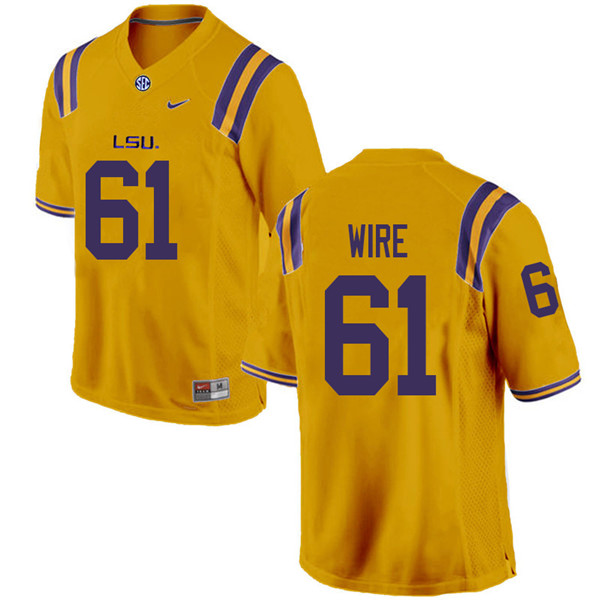 Men #61 Cameron Wire LSU Tigers College Football Jerseys Sale-Gold