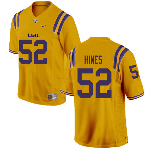 Men #52 Chasen Hines LSU Tigers College Football Jerseys Sale-Gold