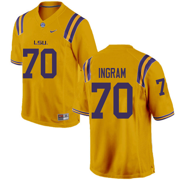 Men #70 Ed Ingram LSU Tigers College Football Jerseys Sale-Gold