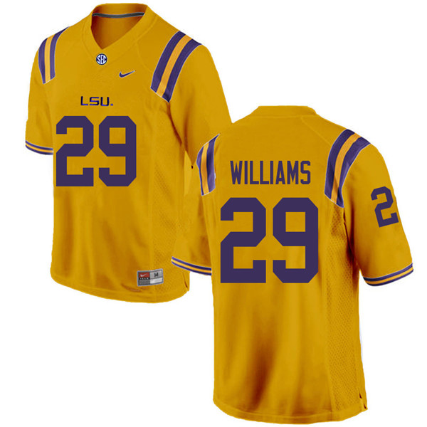 Men #29 Greedy Williams LSU Tigers College Football Jerseys Sale-Gold