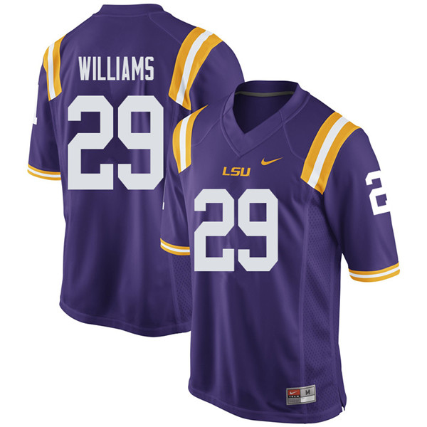 Men #29 Greedy Williams LSU Tigers College Football Jerseys Sale-Purple