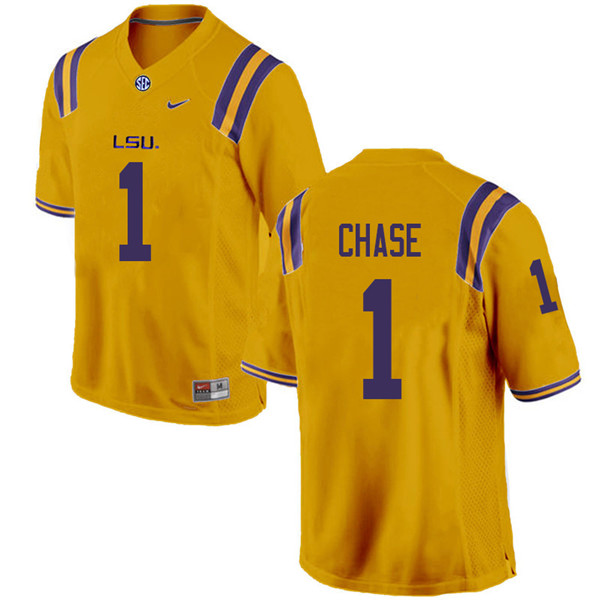 Men #1 Ja'Marr Chase LSU Tigers College Football Jerseys Sale-Gold