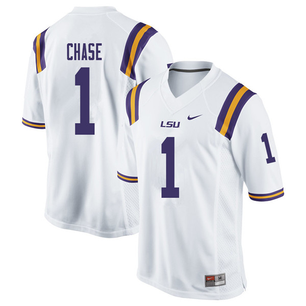 Men #1 Ja'Marr Chase LSU Tigers College Football Jerseys Sale-White