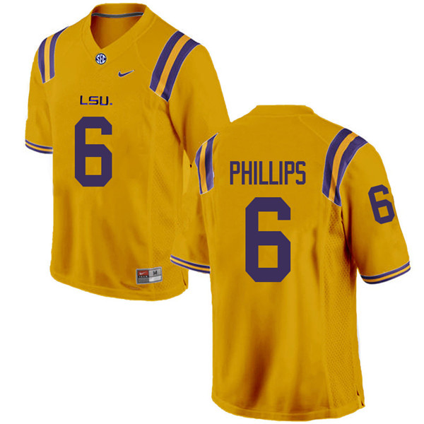 Men #6 Jacob Phillips LSU Tigers College Football Jerseys Sale-Gold