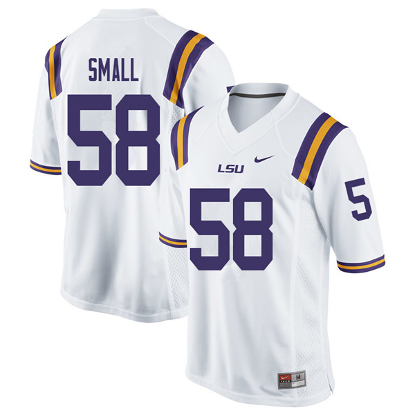 Men #58 Jared Small LSU Tigers College Football Jerseys Sale-White