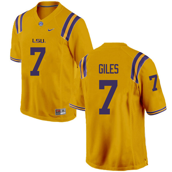 Men #7 Jonathan Giles LSU Tigers College Football Jerseys Sale-Gold