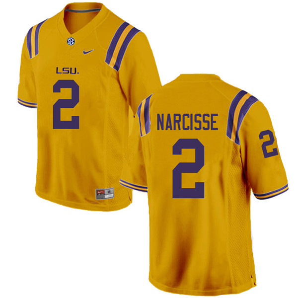 Men #2 Lowell Narcisse LSU Tigers College Football Jerseys Sale-Gold