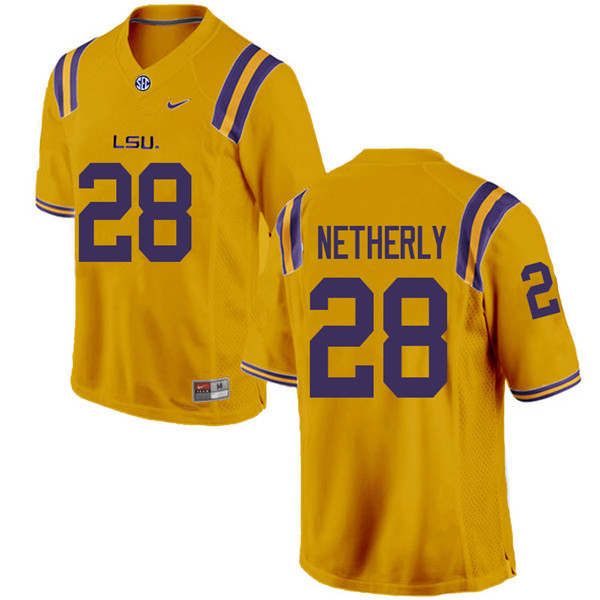 Men #28 Mannie Netherly LSU Tigers College Football Jerseys Sale-Gold