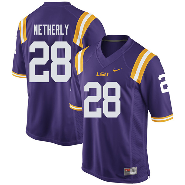 Men #28 Mannie Netherly LSU Tigers College Football Jerseys Sale-Purple