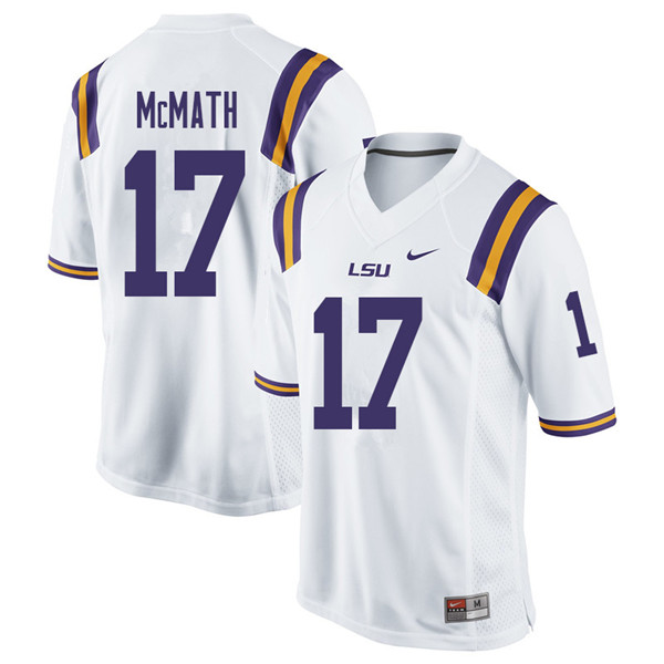 Men #17 Racey McMath LSU Tigers College Football Jerseys Sale-White