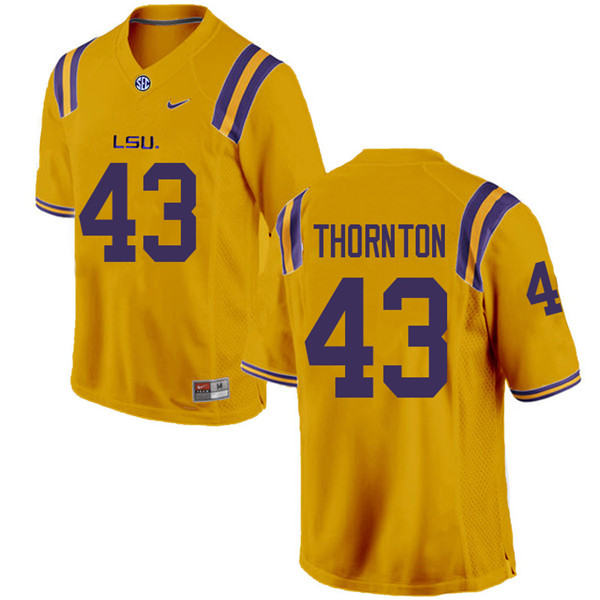 Men #43 Ray Thornton LSU Tigers College Football Jerseys Sale-Gold