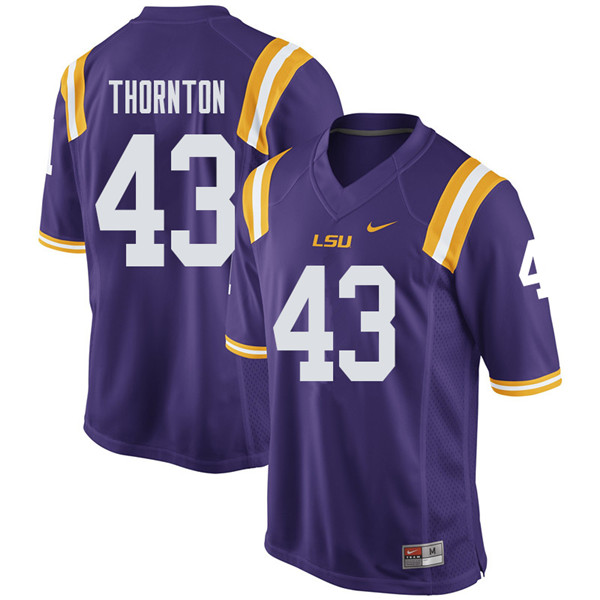 Men #43 Ray Thornton LSU Tigers College Football Jerseys Sale-Purple