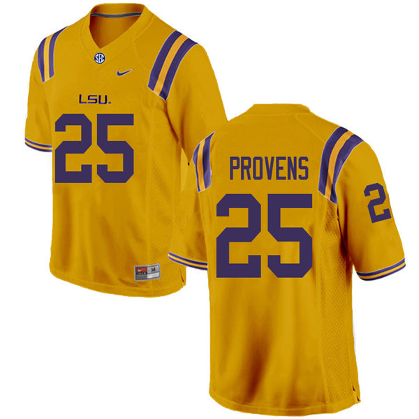 Men #25 Tae Provens LSU Tigers College Football Jerseys Sale-Gold