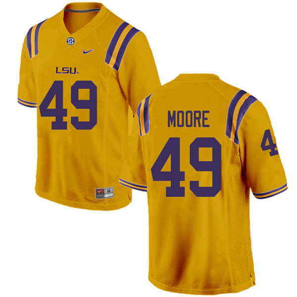 Men #49 Travez Moore LSU Tigers College Football Jerseys Sale-Gold