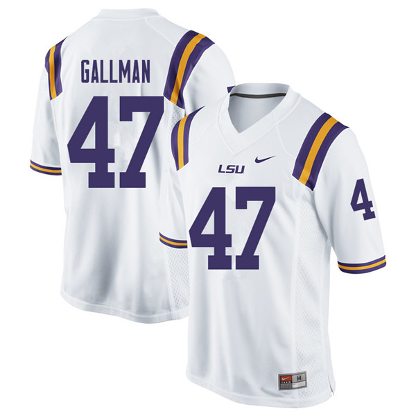 Men #47 Trey Gallman LSU Tigers College Football Jerseys Sale-White
