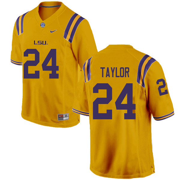 Men #24 Tyler Taylor LSU Tigers College Football Jerseys Sale-Gold