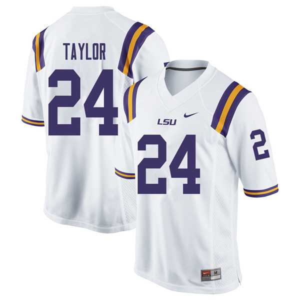 Men #24 Tyler Taylor LSU Tigers College Football Jerseys Sale-White