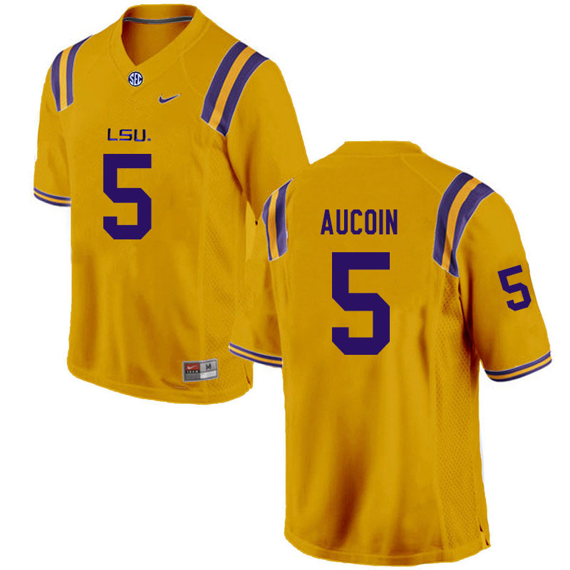 Men #5 Alex Aucoin LSU Tigers College Football Jerseys Sale-Gold