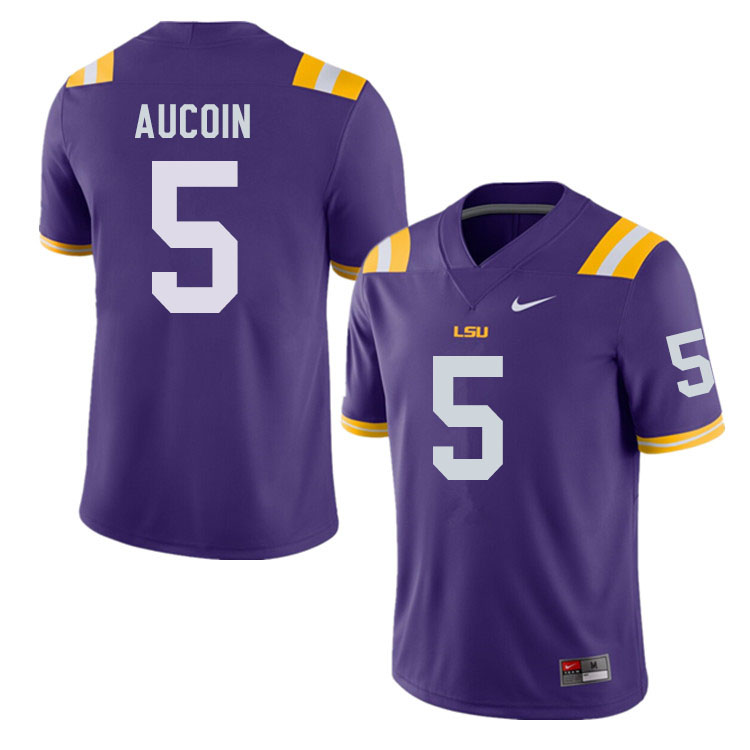 Men #5 Alex Aucoin LSU Tigers College Football Jerseys Sale-Purple