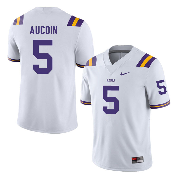 Men #5 Alex Aucoin LSU Tigers College Football Jerseys Sale-White