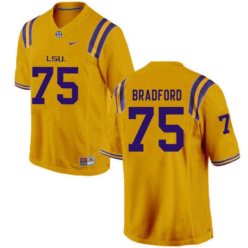 Men #75 Anthony Bradford LSU Tigers College Football Jerseys Sale-Gold