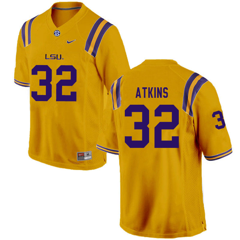 Men #32 Avery Atkins LSU Tigers College Football Jerseys Sale-Gold
