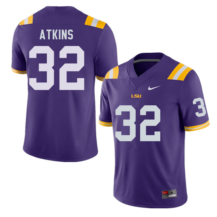 Men #32 Avery Atkins LSU Tigers College Football Jerseys Sale-Purple