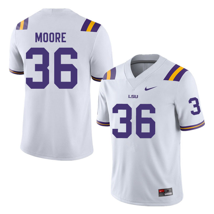 Men #36 Derian Moore LSU Tigers College Football Jerseys Sale-White
