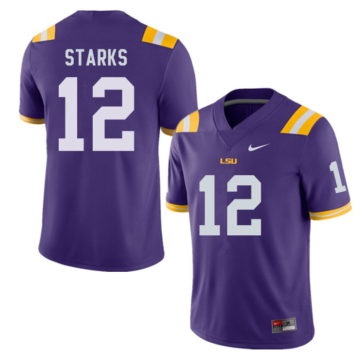 Men #12 Donte Starks LSU Tigers College Football Jerseys Sale-Purple