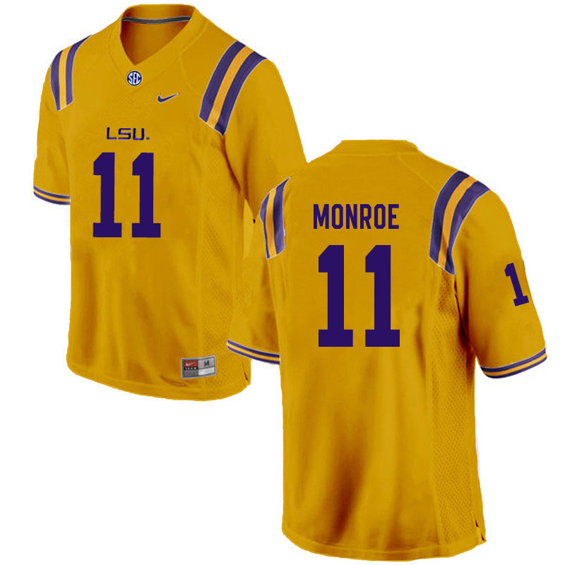 Men #11 Eric Monroe LSU Tigers College Football Jerseys Sale-Gold
