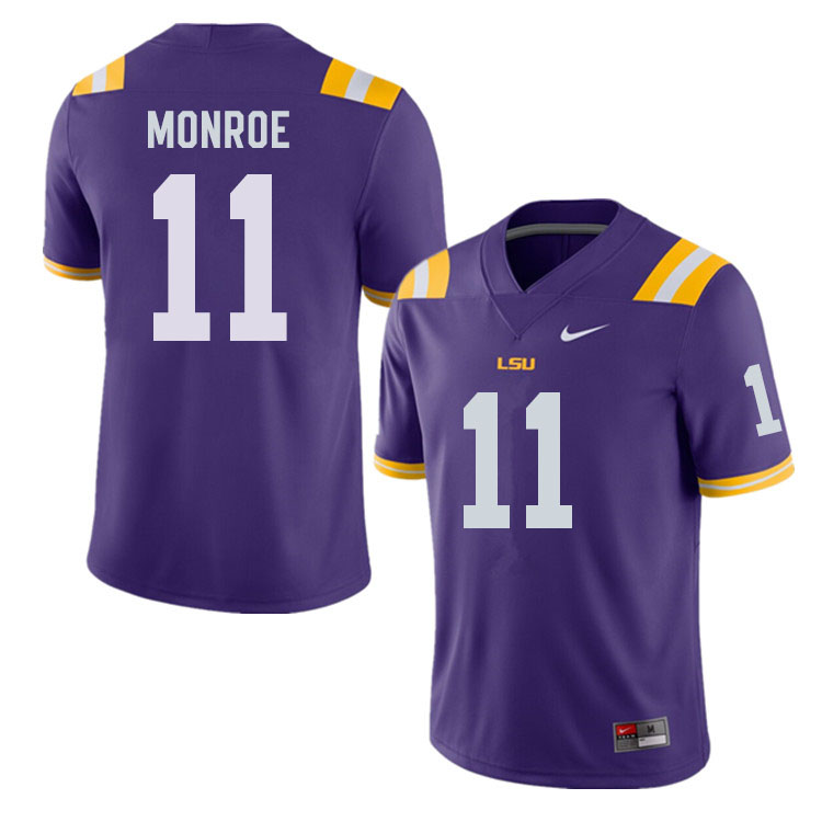 Men #11 Eric Monroe LSU Tigers College Football Jerseys Sale-Purple