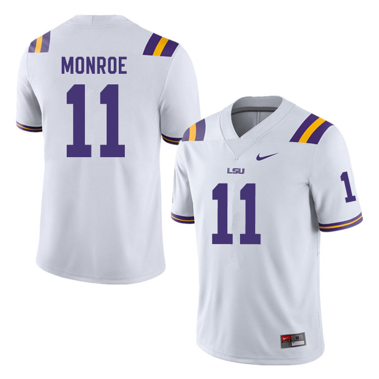 Men #11 Eric Monroe LSU Tigers College Football Jerseys Sale-White