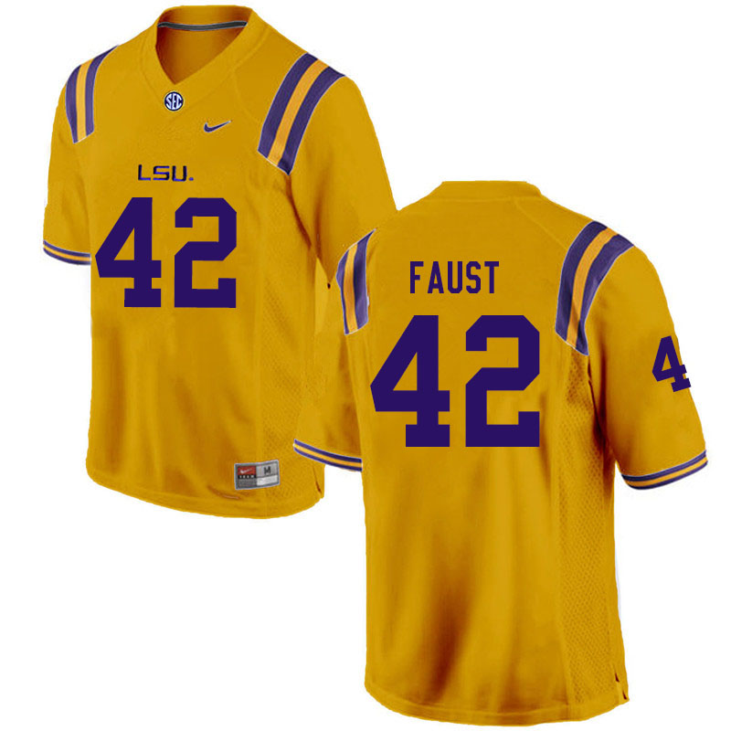 Men #42 Hunter Faust LSU Tigers College Football Jerseys Sale-Gold