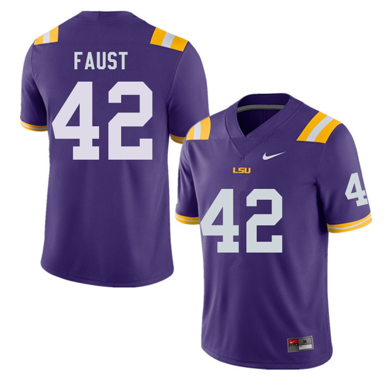 Men #42 Hunter Faust LSU Tigers College Football Jerseys Sale-Purple