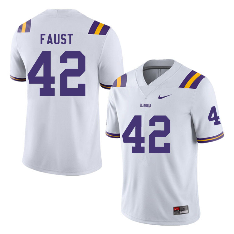 Men #42 Hunter Faust LSU Tigers College Football Jerseys Sale-White