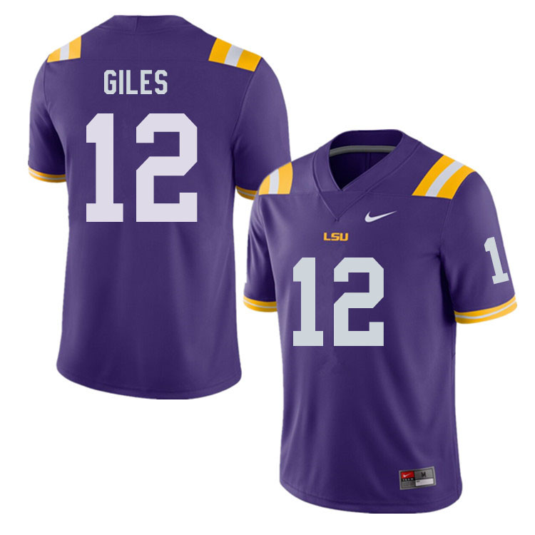 Men #12 Jonathan Giles LSU Tigers College Football Jerseys Sale-Purple