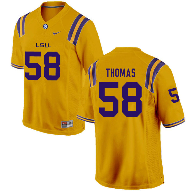 Men #58 Kardell Thomas LSU Tigers College Football Jerseys Sale-Gold