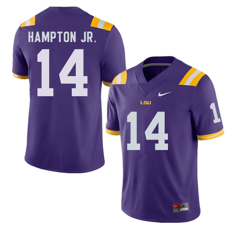 Men #14 Maurice Hampton Jr. LSU Tigers College Football Jerseys Sale-Purple