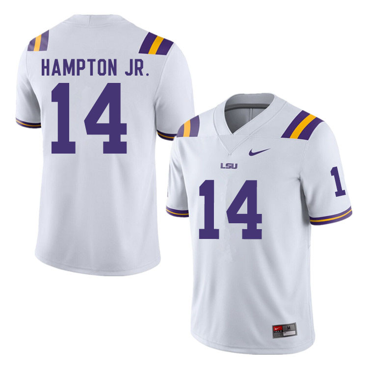 Men #14 Maurice Hampton Jr. LSU Tigers College Football Jerseys Sale-White