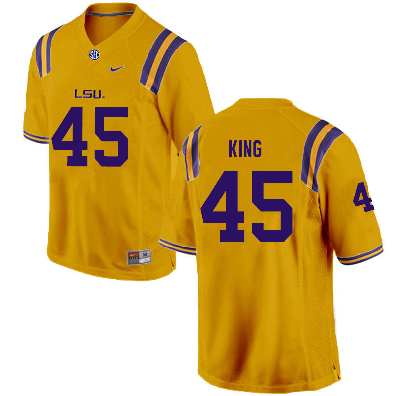 Men #45 Stephen King LSU Tigers College Football Jerseys Sale-Gold