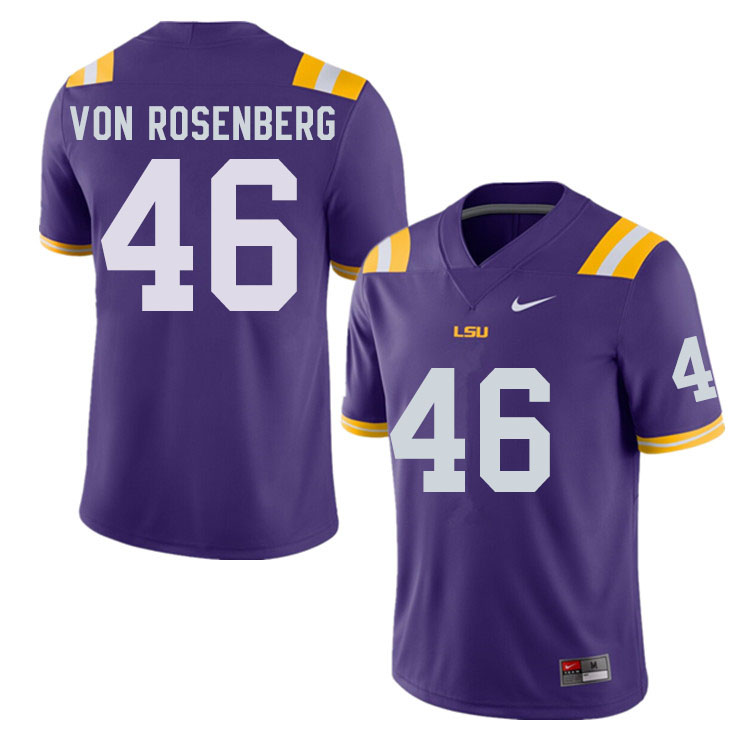 Men #46 Zach Von Rosenberg LSU Tigers College Football Jerseys Sale-Purple