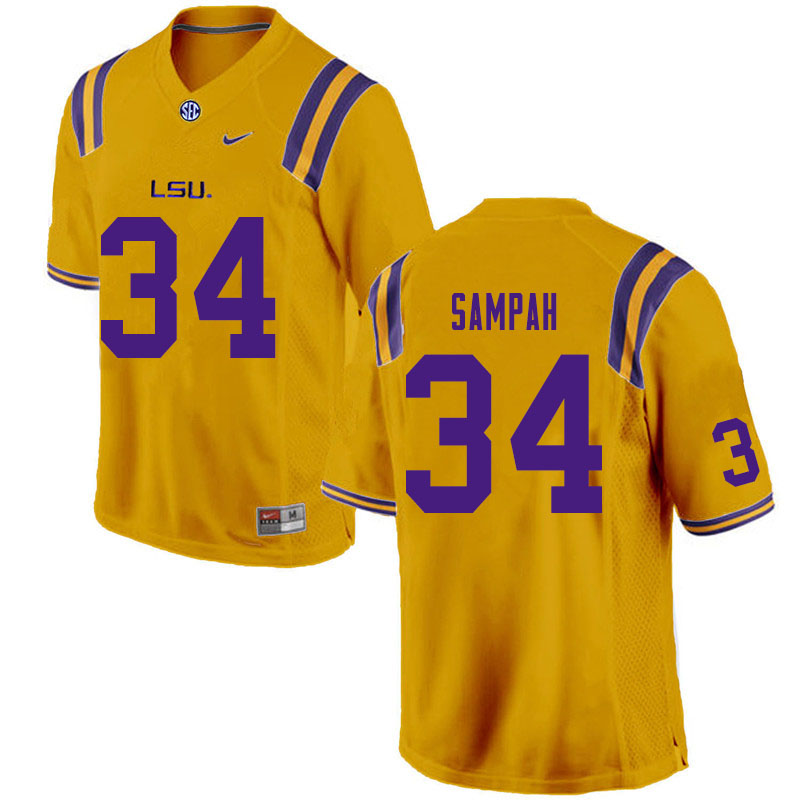Men #34 Antoine Sampah LSU Tigers College Football Jerseys Sale-Gold