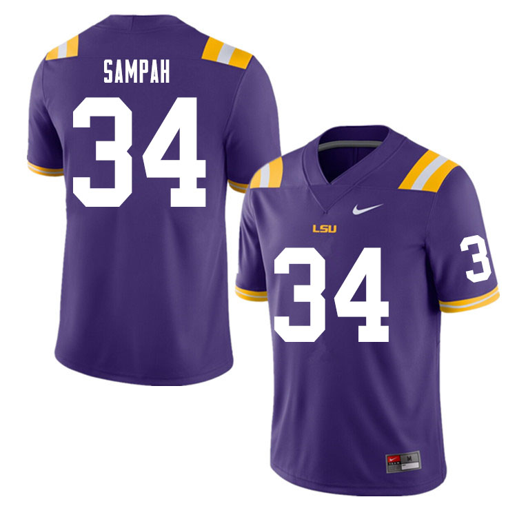 Men #34 Antoine Sampah LSU Tigers College Football Jerseys Sale-Purple