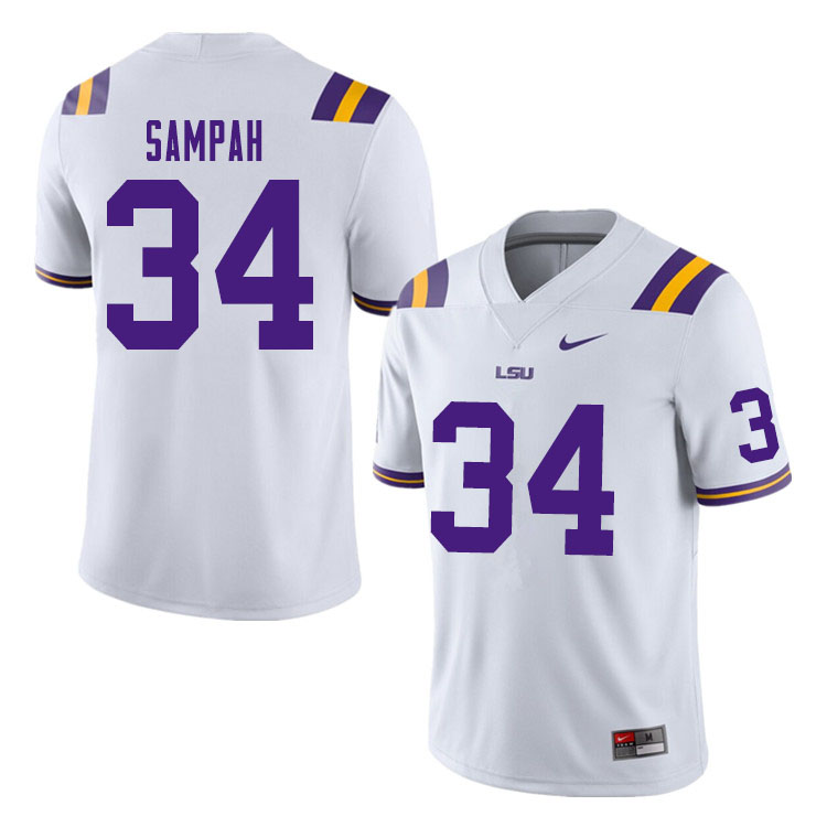 Men #34 Antoine Sampah LSU Tigers College Football Jerseys Sale-White