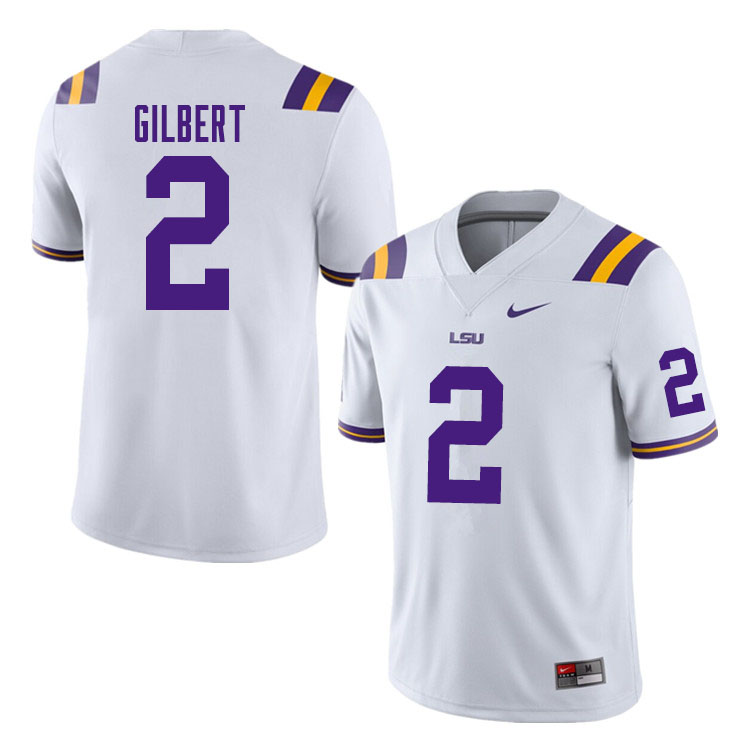Men #2 Arik Gilbert LSU Tigers College Football Jerseys Sale-White