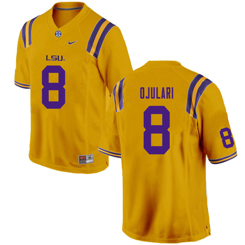 Men #8 BJ Ojulari LSU Tigers College Football Jerseys Sale-Gold