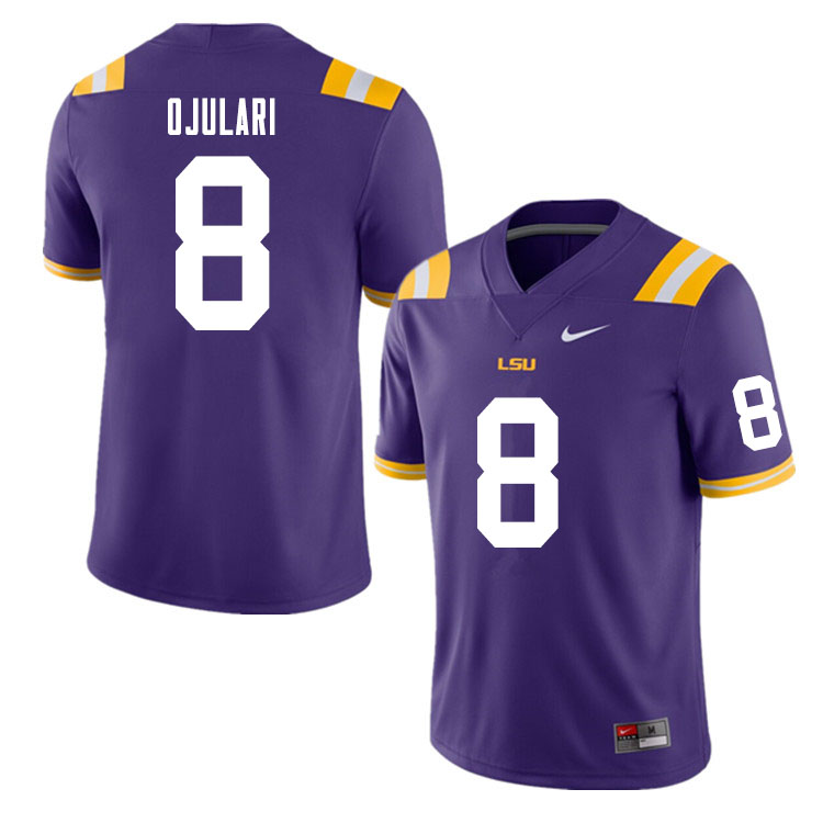 Men #8 BJ Ojulari LSU Tigers College Football Jerseys Sale-Purple